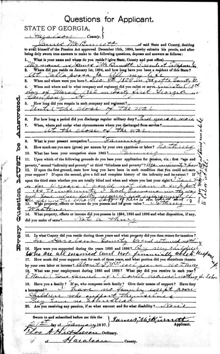 James McBurnett Confederate Pension